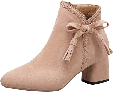 Womens Faux Suede Block Heels Ankle Boots Shoes Booties Pull On Casual Q