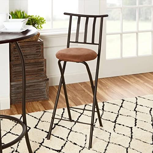 Home Furniture Sitting Bar Stool Bronze 30 Empress Metal Ladder Back Black Chair Microfiber cushion Folding feature Padded'seat cushion Assembled Dimensions L x W x H 42.50 x 4.00 x 20.00 Inche