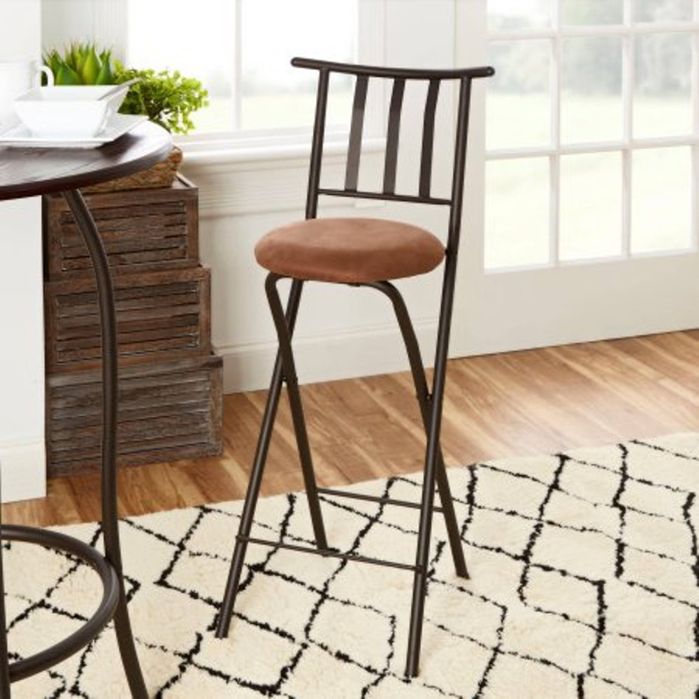 Home Furniture Sitting Bar Stool Bronze 30 Empress Metal Ladder Back Black Chair Microfiber cushion Folding feature Padded seat cushion Assembled Dimensions L x W x H 42.50 x 4.00 x 20.00 Inches