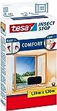 tesa Insect Stop COMFORT Fliegengitter für Fenster/Insektenschutz mit selbstklebendem Klettband (2er Pack, 130 cm x 130 cm)