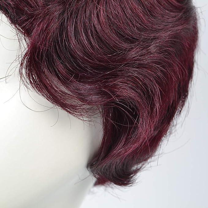 Peluca de pelo humano brasileño 100% Remy de onda corta ...