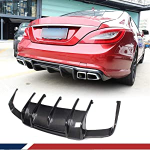 JC SPORTLINE Carbon Fiber Rear Diffuser fits for Mercedes Benz CLS Class W218 CLS300 CLS350 Sport CLS63 AMG Sedan 2011-2014 Bumper Cover Lower Lip Spoiler Valance Protector Factory Outlet