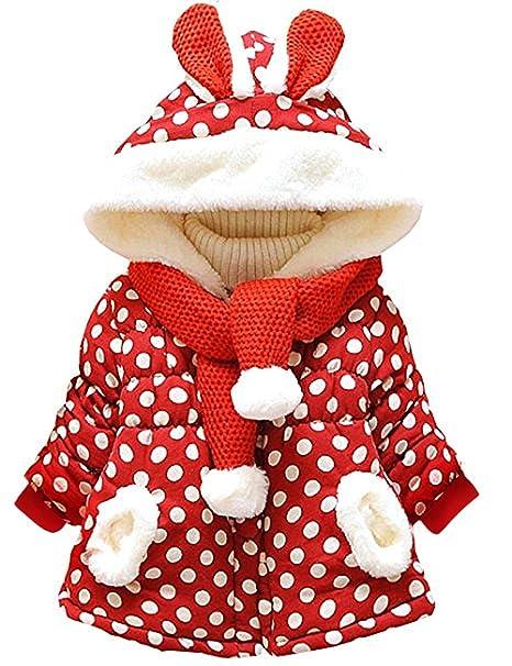 7b59366661b9c Little Hand Baby Girls Cute Rabbit Ears Hooded Polka Dot Print Winter Warm  Coats Jackets Outerwear  Amazon.co.uk  Clothing