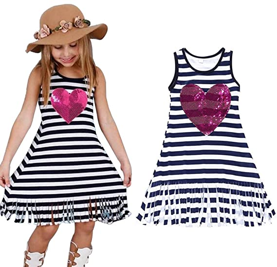 66024980a163 Amazon.com  EGELEXY Summer Baby Girls Sleeveless Striped Dress Kids ...