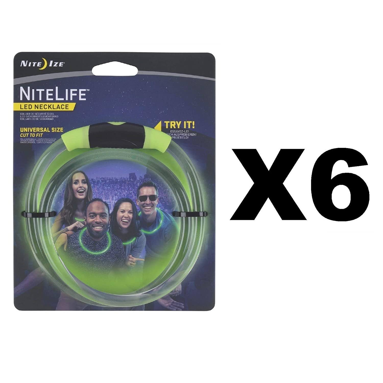 Nite Ize NiteLife LEDネックレス グリーングロー&フラッシュライト 調節可能 (6個パック) B073XTB7L4
