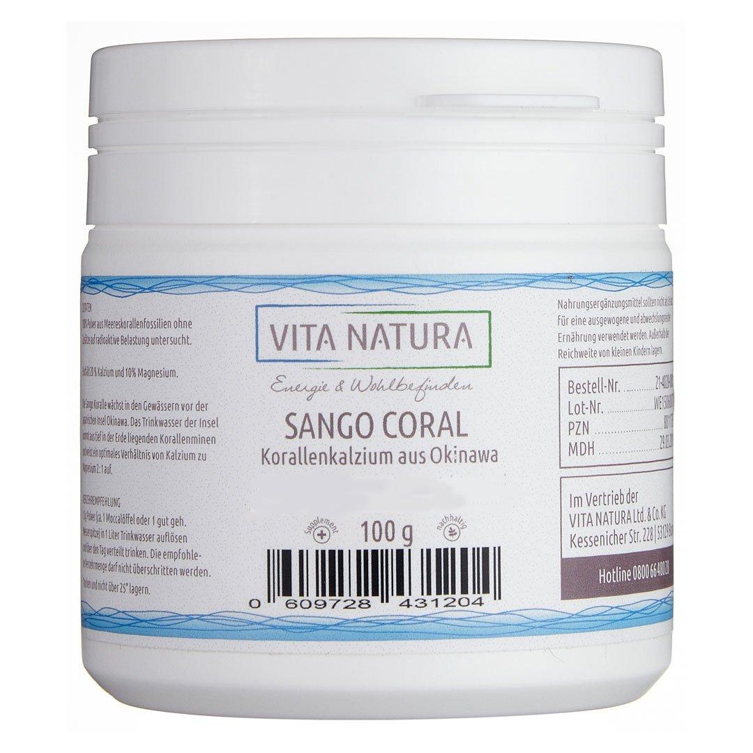 Vita Natura, Calcio de Sango Coral en Polvo, Pack de 1 (1 x 100 g): Amazon.es: Salud y cuidado personal