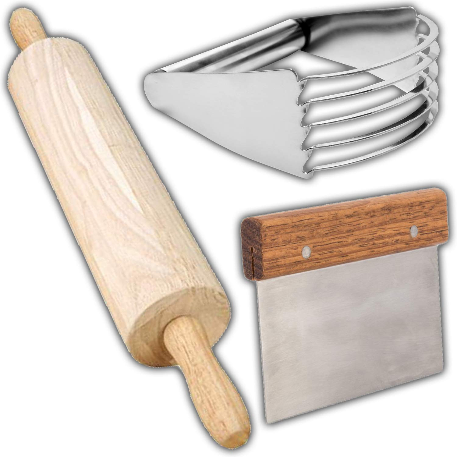 Pastry Baking Set - 13'' Wooden Rolling Pin, Dough Scraper and Blender Stainless Steel, Professional Quality Biscuit Blender, pie cutter, Heavy Duty Kitchen Baking Tools, for commercial and home use.