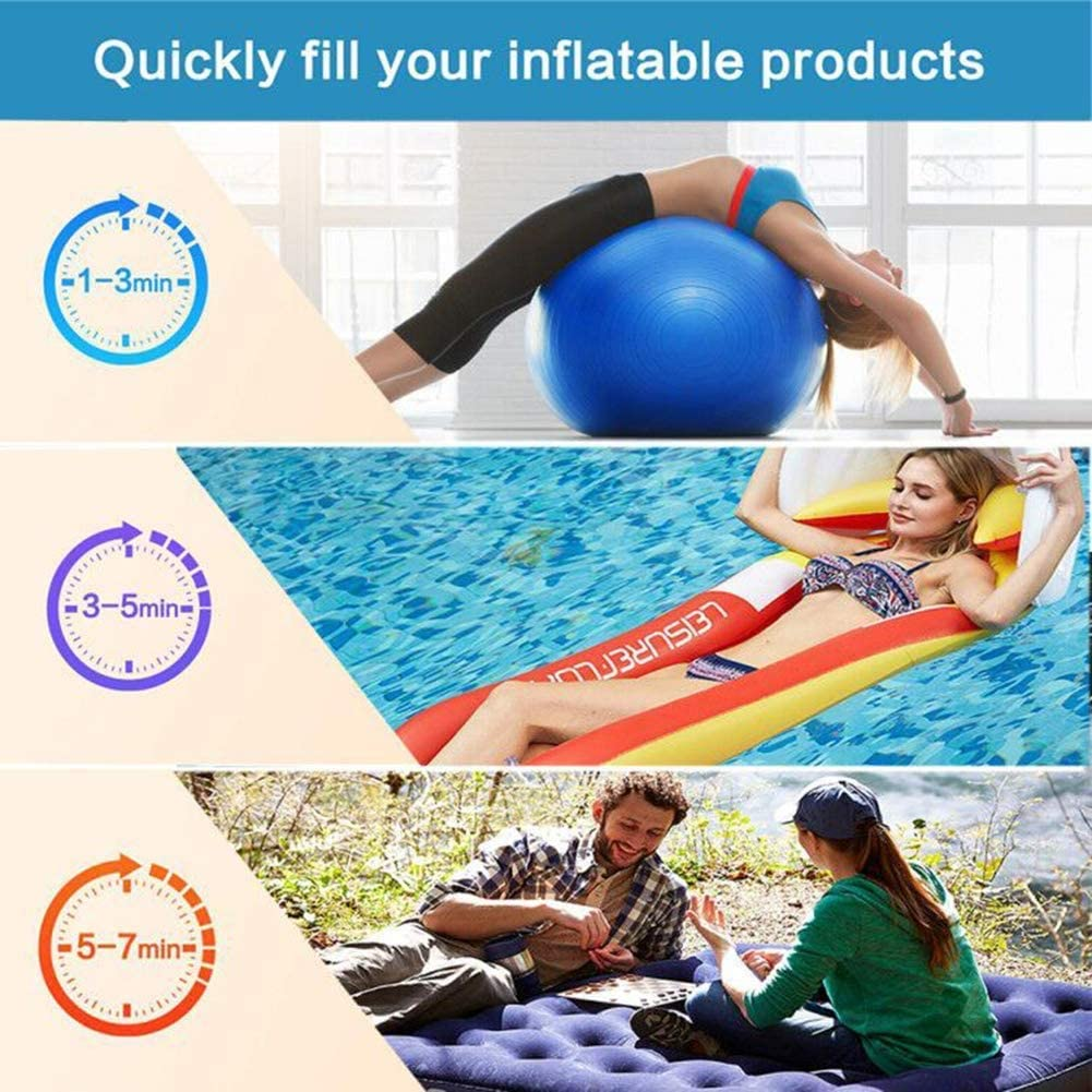 Rongyuxuan Electric Air Pump for Inflatables, 2 in 1 Portable Quick-Fill Air Pump,110V AC & 12V DC Inflator Deflator for Air Mattress, Swimming Rings, Airbeds, Water Toys, with 3Nozzles,Storage Bag: Home & Kitchen
