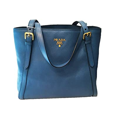 8a6f573608 Image Unavailable. Image not available for. Color  Prada Cobalt Blue  Vitello Phenix Designer Shopping Tote ...