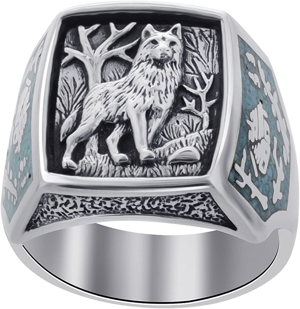 Men's Southwestern Style Turquoise Gemstone Wolf Sterling Silver Ring
