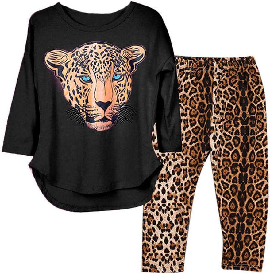 ملابس علوية مطبوع عليها حيوانات من سوميير + بنطلون نمر طويل الأكمام للفتيات الصغيرات من سن 2-12 سنة 130 A