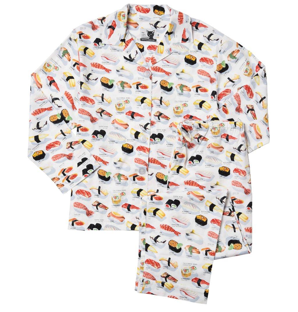 The Cat's Pajamas White Sushi Women's Cotton Pajama small