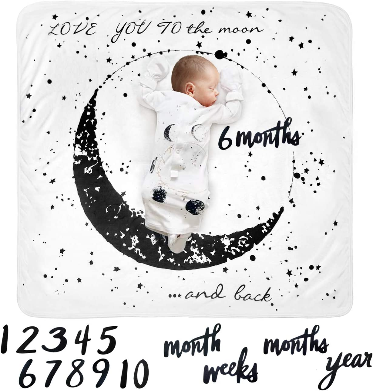Tebaby Baby Monthly Milestone Blanket Moon - Neutral Personalized Month Blanket for Boy Girl Newborn Soft Plush Fleece Photography Background Bonus Felt Milestone Number Set Large