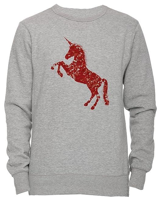 Rojo Unicornio Unisexo Hombre Mujer Sudadera Jersey Pullover Gris Todos Los Tamaños Unisex Mens Womens Jumper Sweatshirt Grey All Sizes: Amazon.es: Ropa y ...