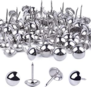 BronaGrand 100 Pieces Upholstery Tacks Furniture Nails Pins, 7/16 Inch (Silver)
