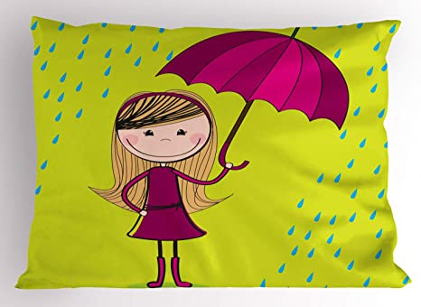 Amazon Com Ambesonne Rain Pillow Sham Little Girl Holding Umbrella Standing Under Raindrops Sketch Decorative Standard Queen Size Printed Pillowcase 30 X 20 Yellow Green Magenta And Blue Home Kitchen