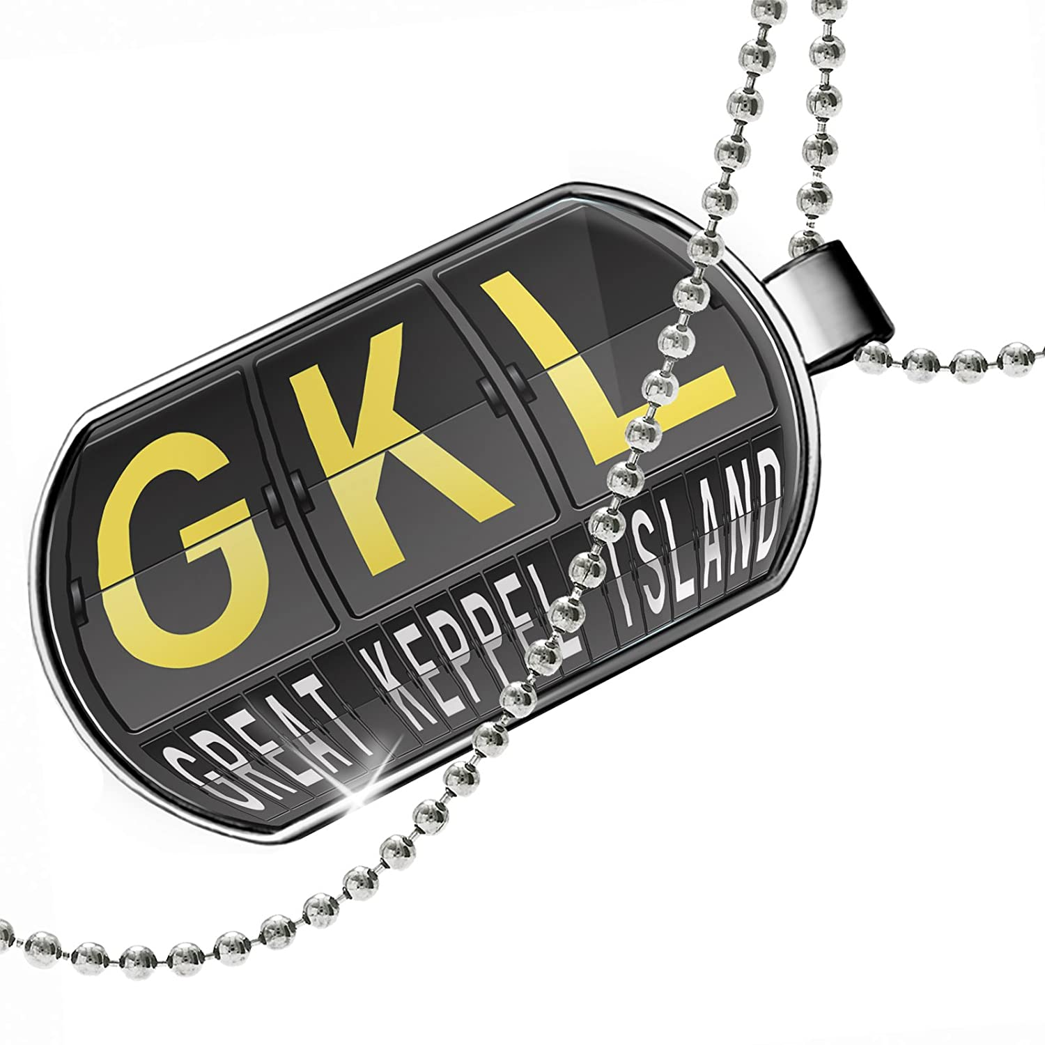 NEONBLOND Personalized Name Engraved GKL Airport Code for Great Keppel Island Dogtag Necklace