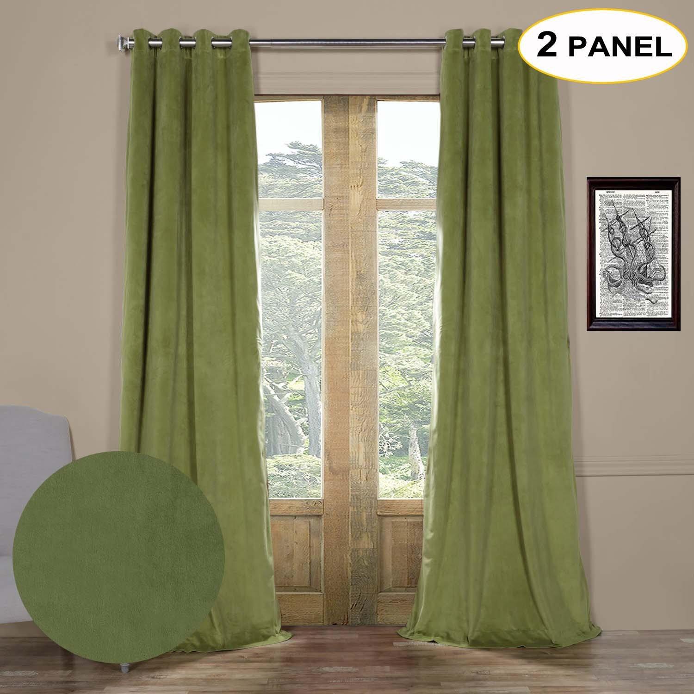 artdix terciopelo 100% Blackout Sólido Cortinas Ojal superior térmica cortinas cortina de ventana de cortinas para dormitorio sala de estar paneles con ...