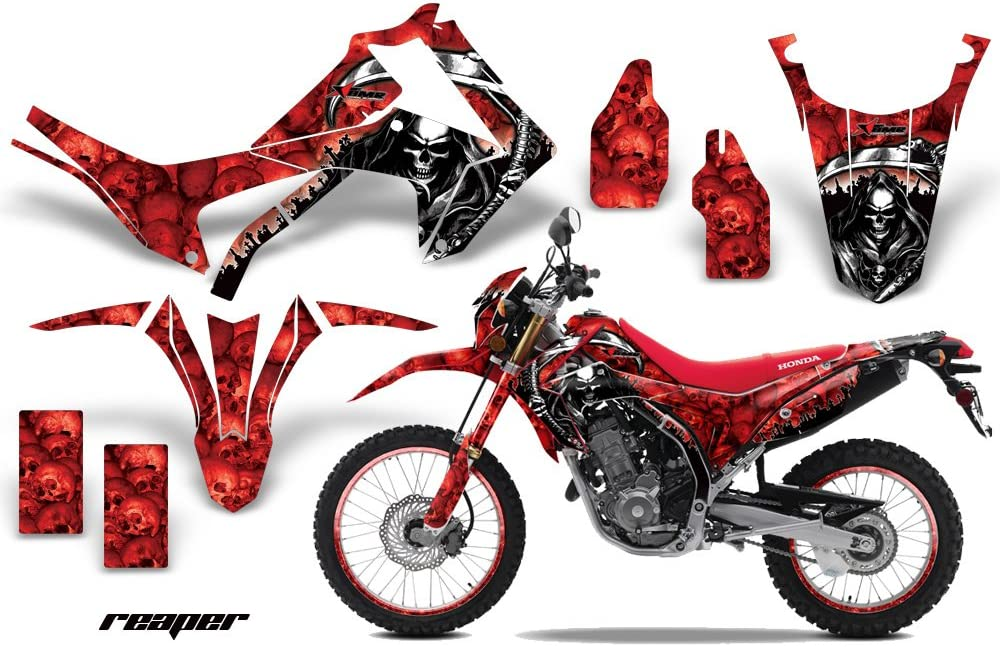 AMR Racing MX Dirt Bike Graphic Kit Sticker Decals with Number Plates Compatible with Honda CRF 250L 2013-2016 Reaper Red