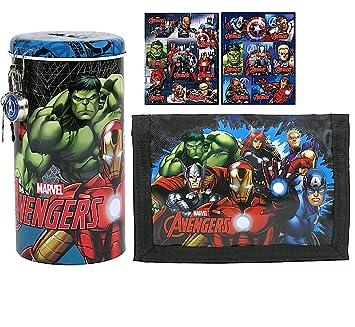 3 piezas Set - Avengers - Cartera + Hucha + 18 - Diseño de ...
