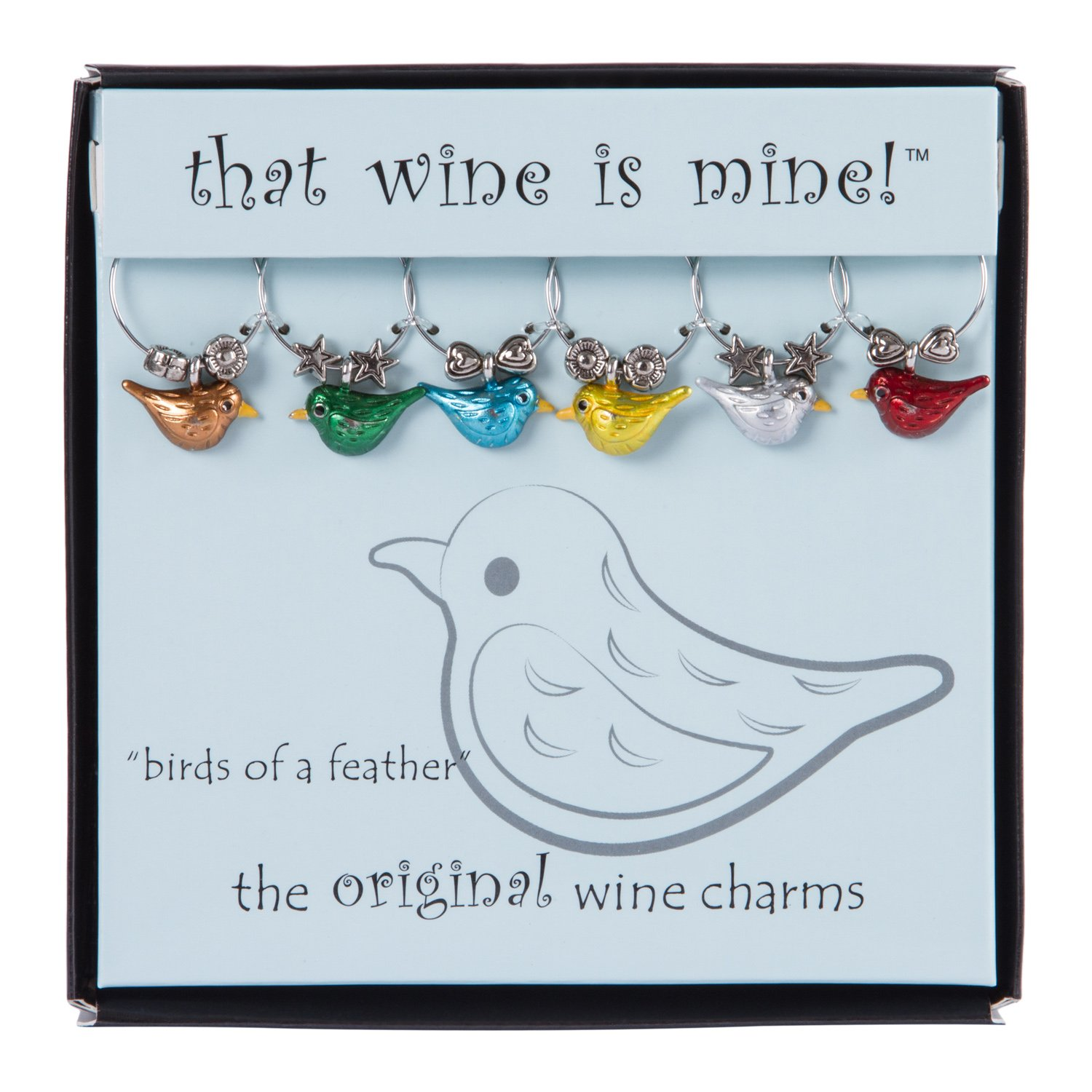 Painted Wine Charms Wine Things WT-1612P Birds of a Feather Multi-Color Fits neatly around stem