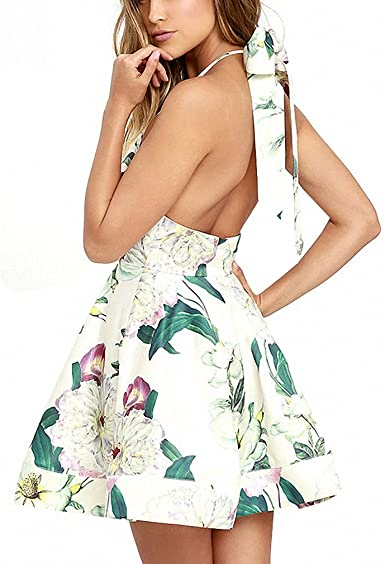 Women/'s Halter Dress Backless Casual Floral Print Summer Dresses with Headband