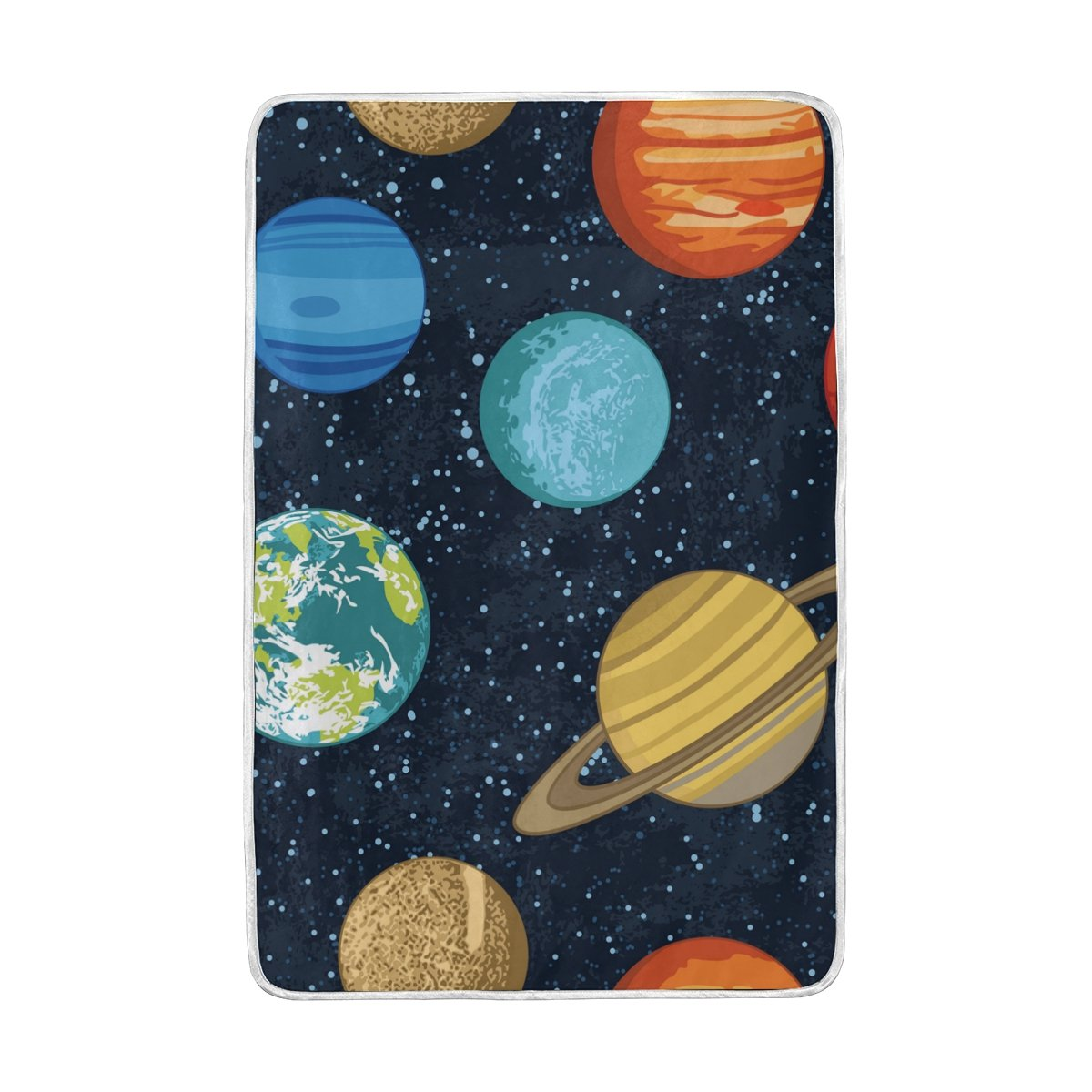 ALAZA Solar System Planets Universe Stars Blanket Luxury Throw Personalized Stylish Fuzzy Soft Warm Lightweight Blanket for Bed Counch All Season Unisex Adult Men Women Boys Girls 60x90 inches
