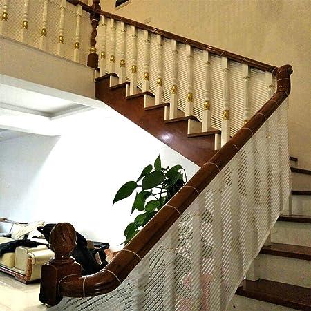 HUANPIN Red de Seguridad para niños, Balcón, Patios y barandillas para escaleras, Red de riel Seguro para niños/Mascotas/Juguetes, café y Blanco 300cm L x80cm/90cm/100cm/120cm H,White,300 * 90cm: Amazon.es: Hogar