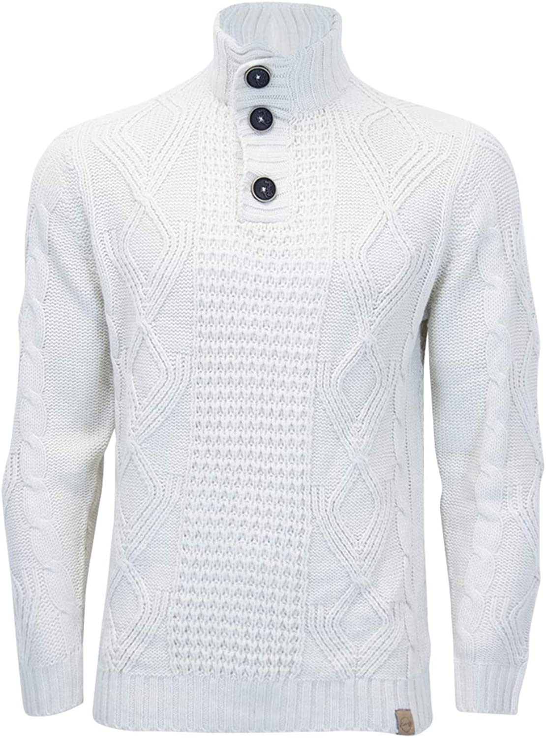 Fashion Star Mens Collared 3 Button Long Sleeve Knit Jumper