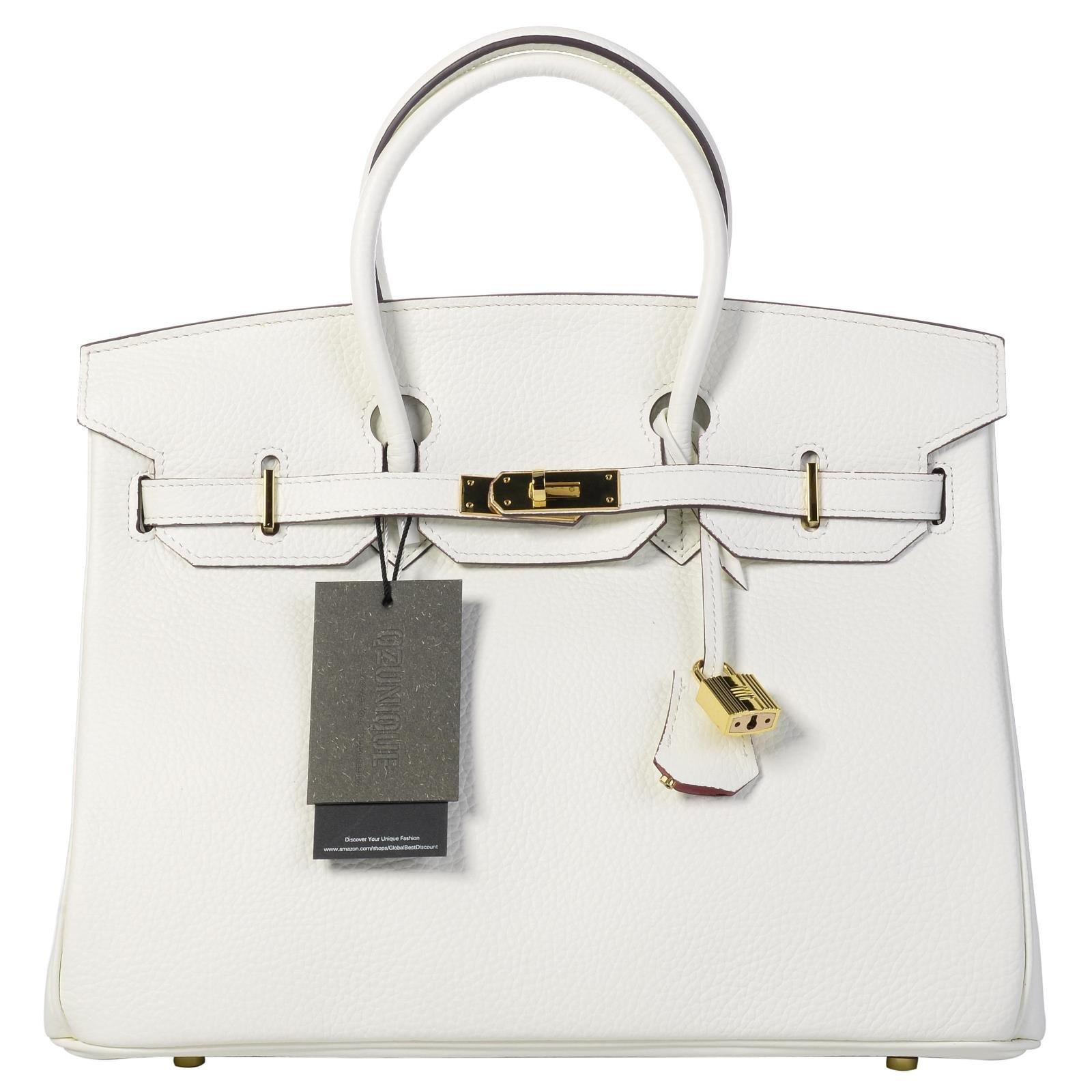 QZUnique Women's Cowhide Genuine Leather Fashion Zipper Buckle Belt Metalic Top Handle Bag White 35cm