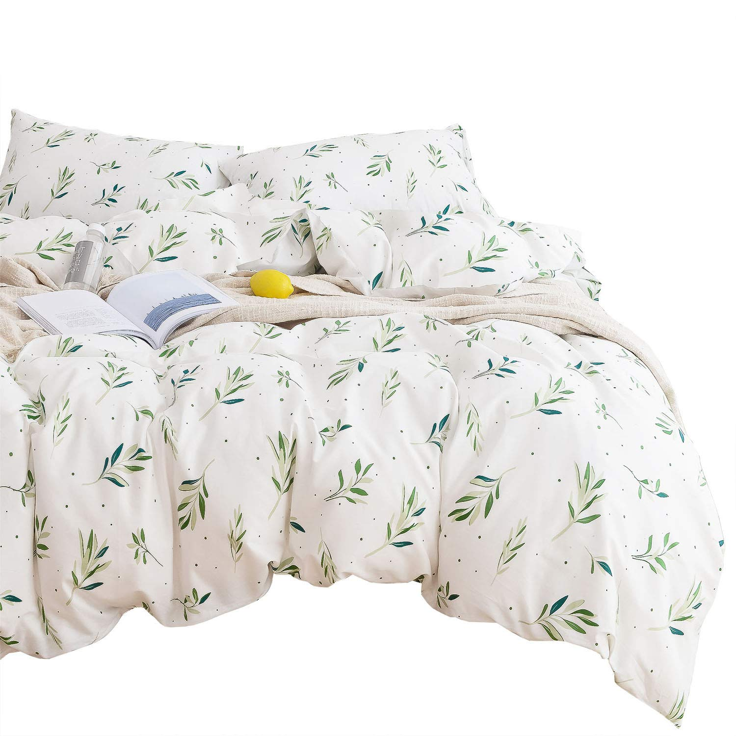 100/% Cotton Bedding with Zipper Closure Green Botanical Plant Leaves and Dots Modern Pattern Printed on White Tree Leaves Duvet Cover Set Wake In Cloud 3pcs, Twin Size