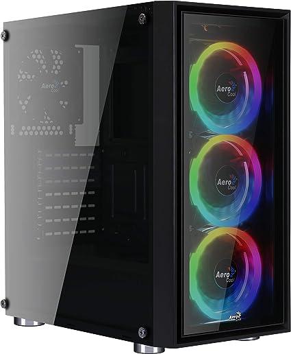 Aerocool Quartz Revo - Caja de Ordenador (Cristal Templado, 3 Ventiladores Frontales Anillo LED RGB, 14 Modos de iluminación, Ventilador Trasero 12 cm, USB 3.0) Color Negro: Amazon.es: Informática