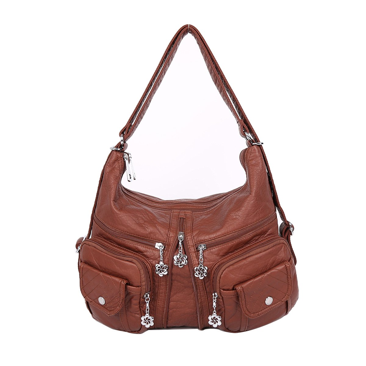 Angelkiss 2 Top Zippers Multi Pockets Handbags Washed Leather Purses Shoulder Bags Backpack AK678 (Brown)