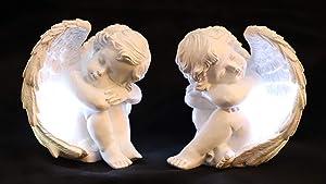 JUNIQUTE Sleepy Time Little Angel with Light Cupid Garden Statue Home Decor Cherub Statue Baby Sculpture Figurine Set of 2