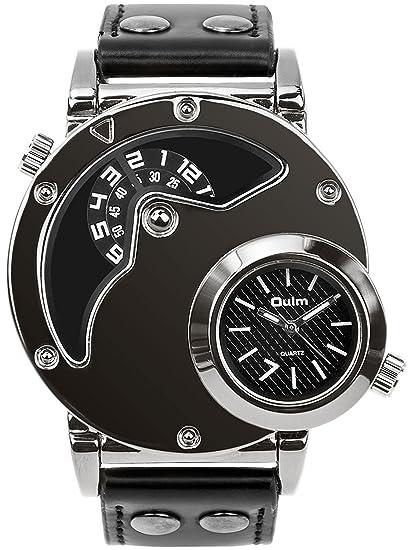 Men's Unique Analog Watch, Aposon Fashion Dress Quartz Wrist Watch with Dual Dial Cool Design Leather Band Dual Time Watches - Black