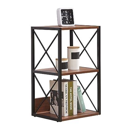 newest fcb8d 232e8 HJ WEDOO 2/3/4 Tier Industrial Bookshelf,Bedside Table Vintage Open Etagere  Bookcase, Rustic Bookshelves with Metal Frame Storage Rack Display Stand ...
