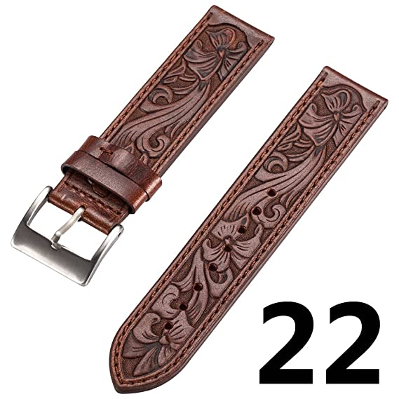 N.ORANIE Moto 360 2nd (Mens 46mm) Watch Band 22mm Genuine Leather with Retro Carving Flower Art for HuaWei Watch 2 and Samsung Gear S2 Classic ...