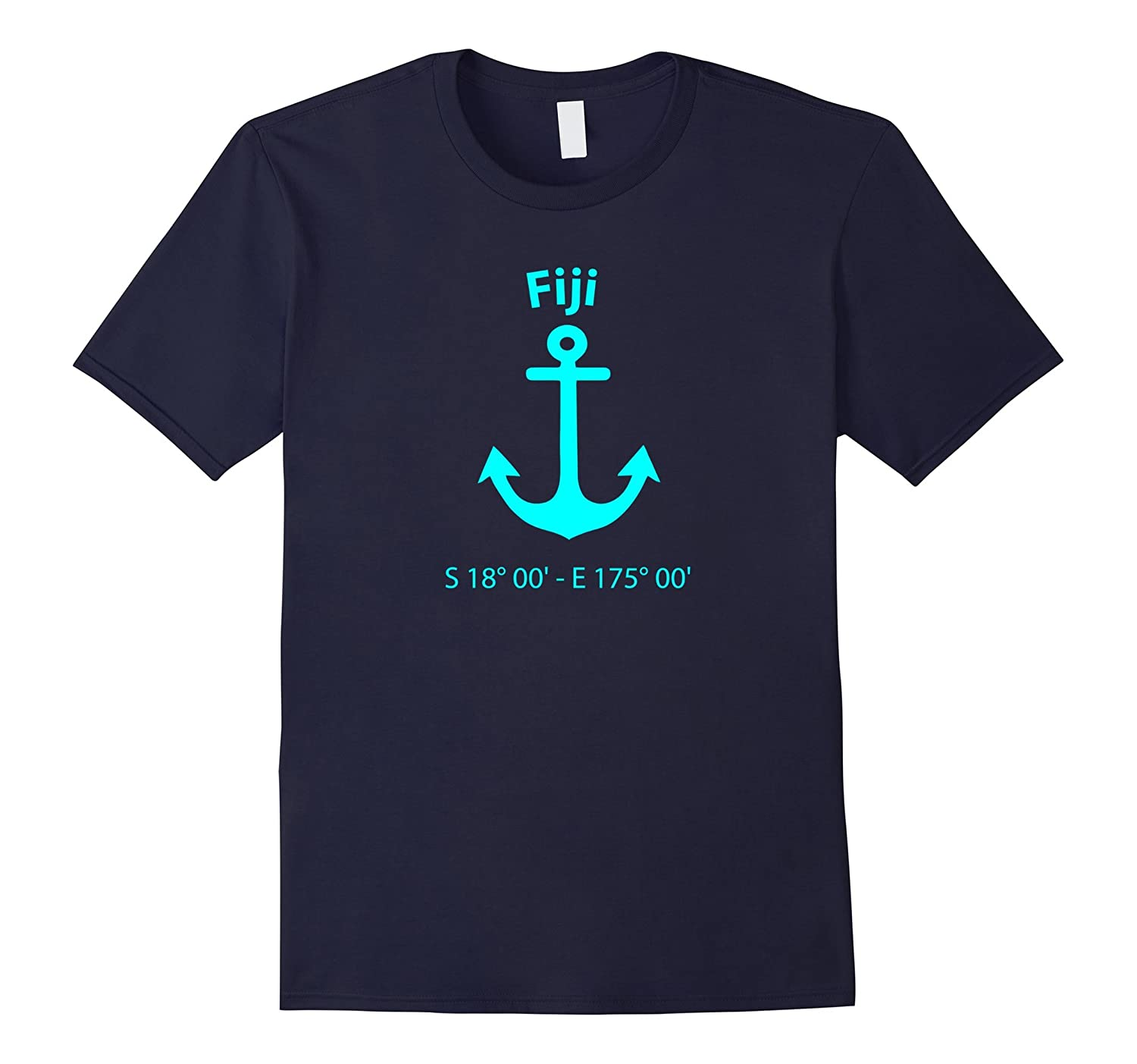 Fiji Nautical Coordinates Anchor T-Shirt For Sailors-TJ