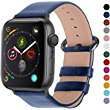 Fullmosa Compatible Apple Watch Band 38mm 40mm 42mm 44mm Calf Leather Compatible iWatch Band/Strap Compatible Apple Watch Series 5/4/3/2/1,44mm 42mm Dark Blue + Smoky Grey Buckle