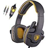 SADES SA708 3.5mm Stereo Gaming Headset Headband Headphones with Microphone Zombie version (Yellow)
