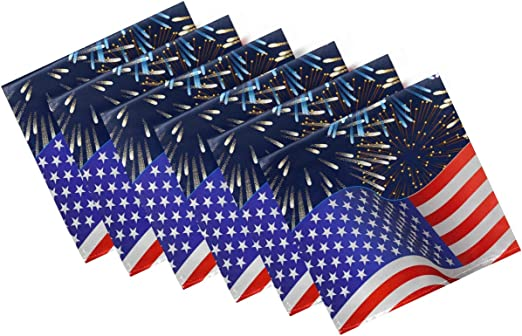Fireworks USA Flag Solid Washable Reusable Polyester Napkins with Hemmed Edges for Home Holiday Party Wedding Oversized 20 x 20 in Naanle 4th of July Cloth Napkins Dinner Table Napkins