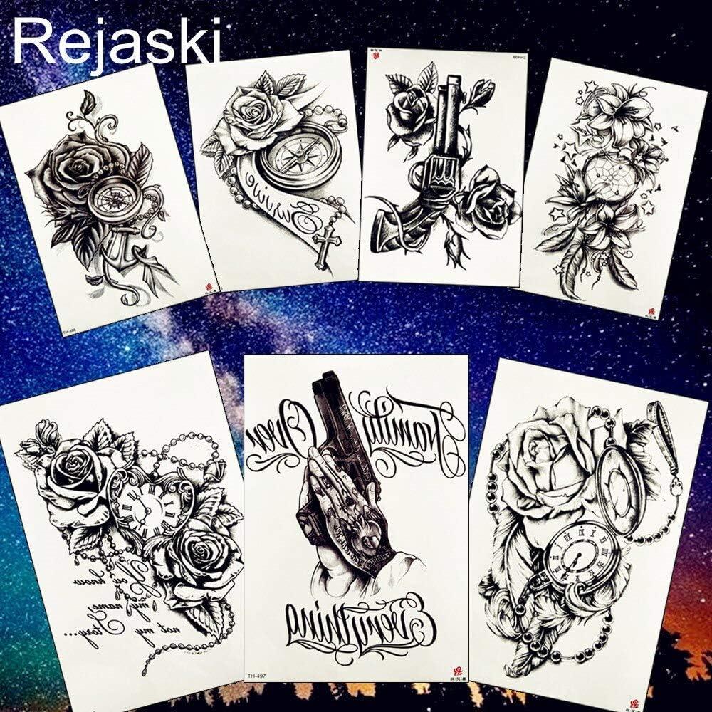 tzxdbh 2 Unids Body Art Pintura Negro Rosa Reloj Brújula Flor ...