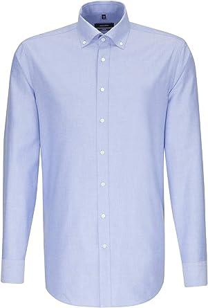 Camisa de hombre Seidensticker para negocios, cómoda, de manga larga, cuello de botón, fácil de planchar azul claro 47: Amazon.es: Ropa y accesorios