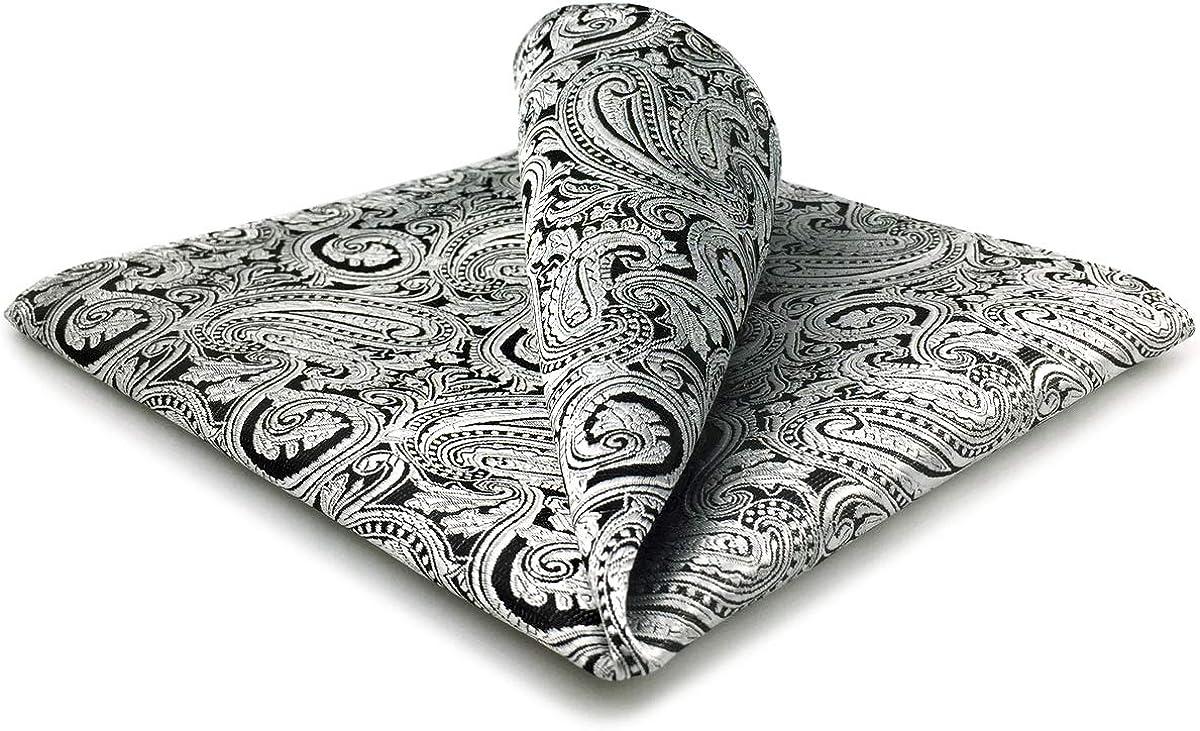 SHLAX/&WING Pocket Square for Men Silver Black Paisley Silk Hanky
