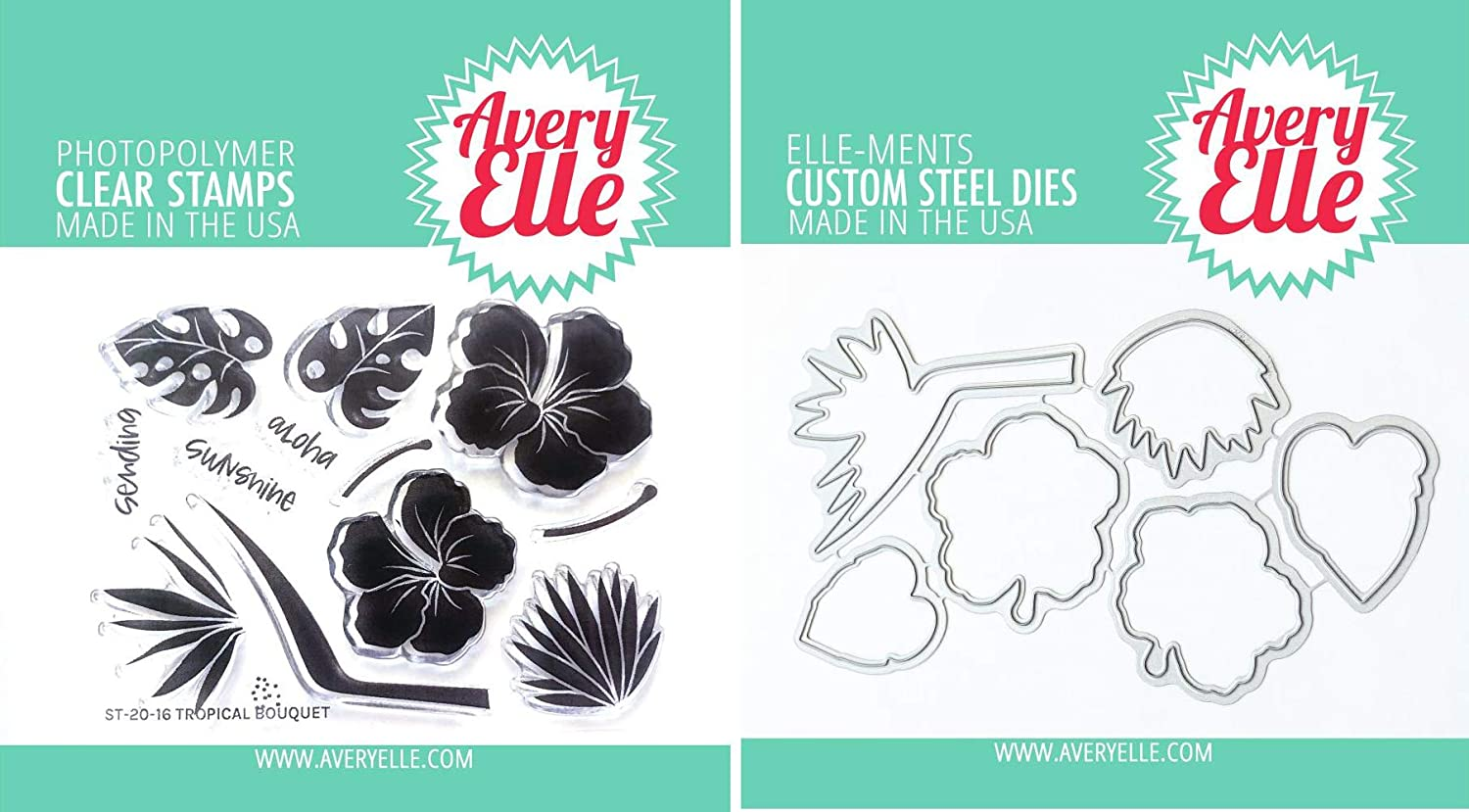 Avery Elle - Tropical Bouquet - Clear Stamps and Dies Set - 2 Item Bundle