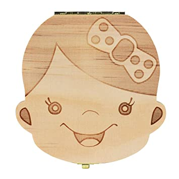 Kids Tooth Box Organizer Baby Save Milk Teeth Wood Storage Box Keep Memory