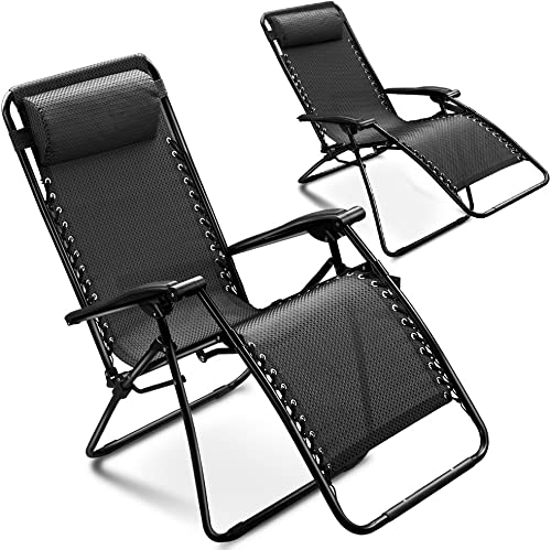 Flexzion 2 Pack Zero Gravity Chair Adjustable Folding Lounge Recliner by Breathable Mesh Fabric and Coated Steel Frame with a Removable Pillow for Outdoor Beach Pool Patio Garden Yard Camping Black
