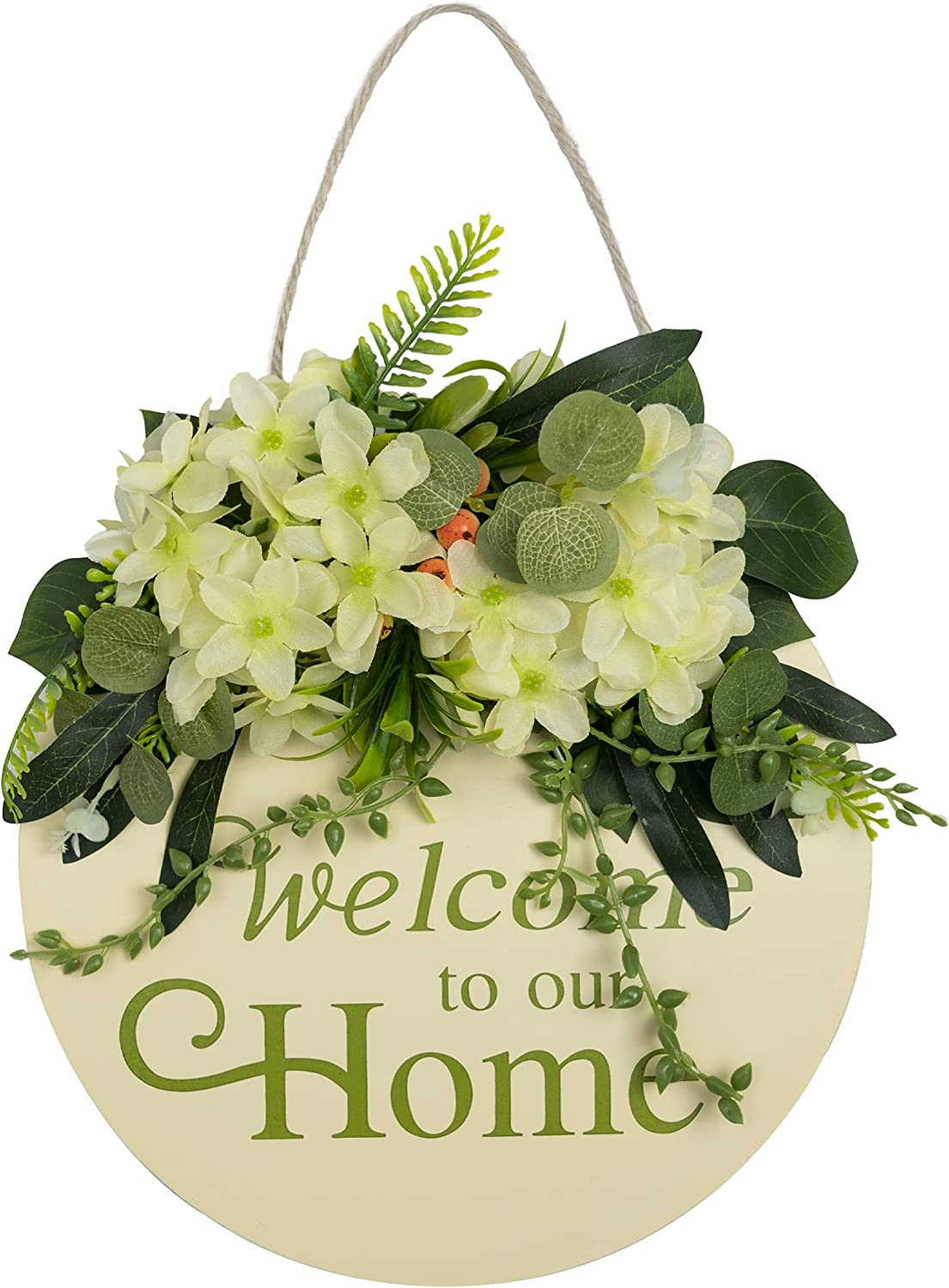 Welcome Sign for Front Door Outside Wood Spring Summer Fall Winter Farmhouse Wall Welcome to Our Home Rustic Porch Outdoor Decor Clearance Wreath for All Seasons Round Personalized Neutral