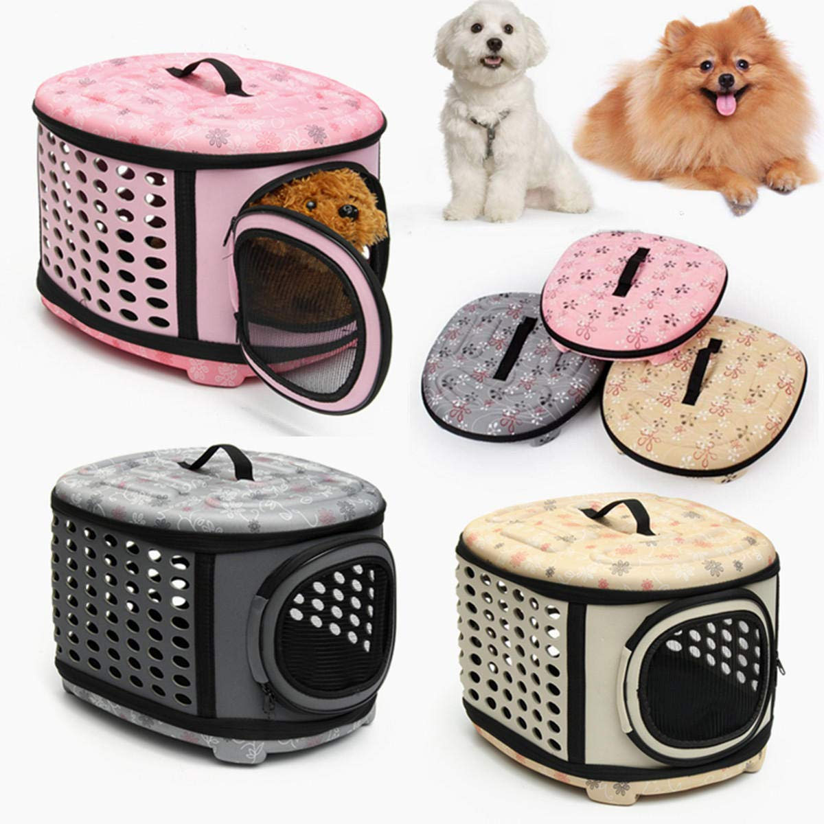 PINIX PNX Small Pet Dog Cat Puppy Kitten Carrier Portable Cage Crate Transporter Bag - rosa