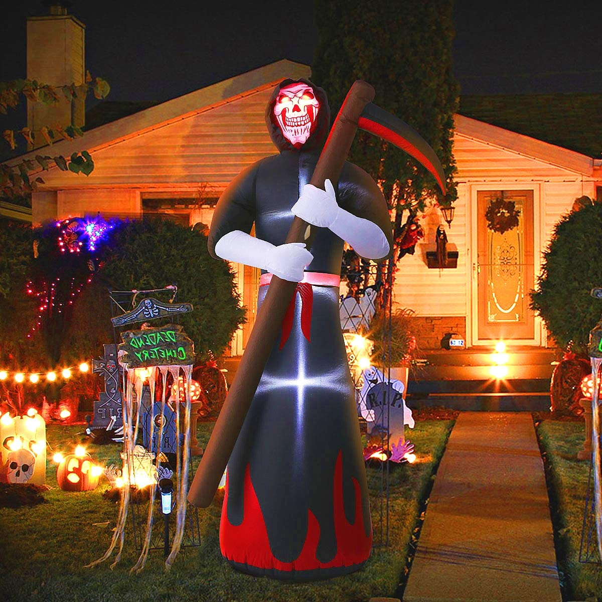 MAOYUE 8ft Halloween Inflatables Grim Reaper Inflatable Blow Up Outdoor Halloween Decorations Built-in LED Lights with Tethers, Stakes for Outdoor, Yard, Lawn, Garden